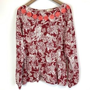 Sundance embroidered floral print blouse